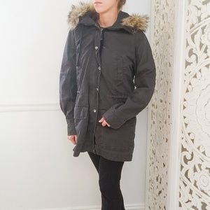 Gap Gray Winter Utility Jacket with Hood Size M